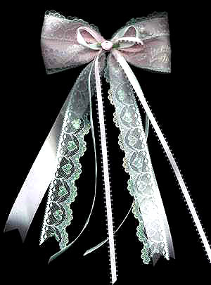 streamer bow in satin/iridescent lace